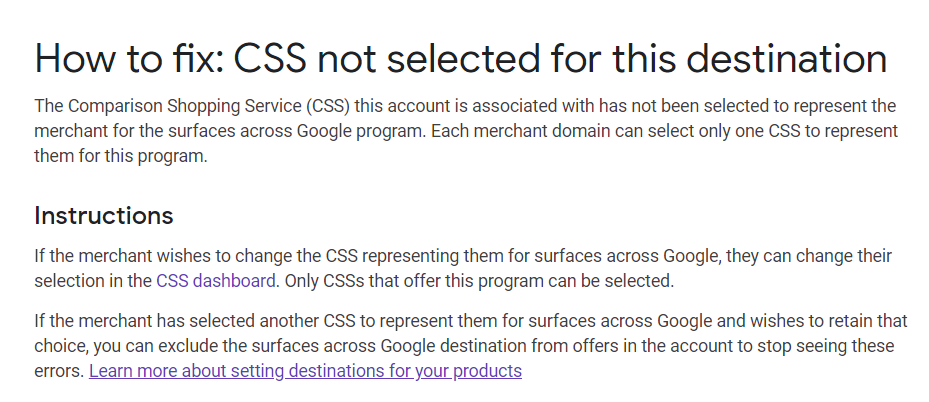 CSS not selected for this destination